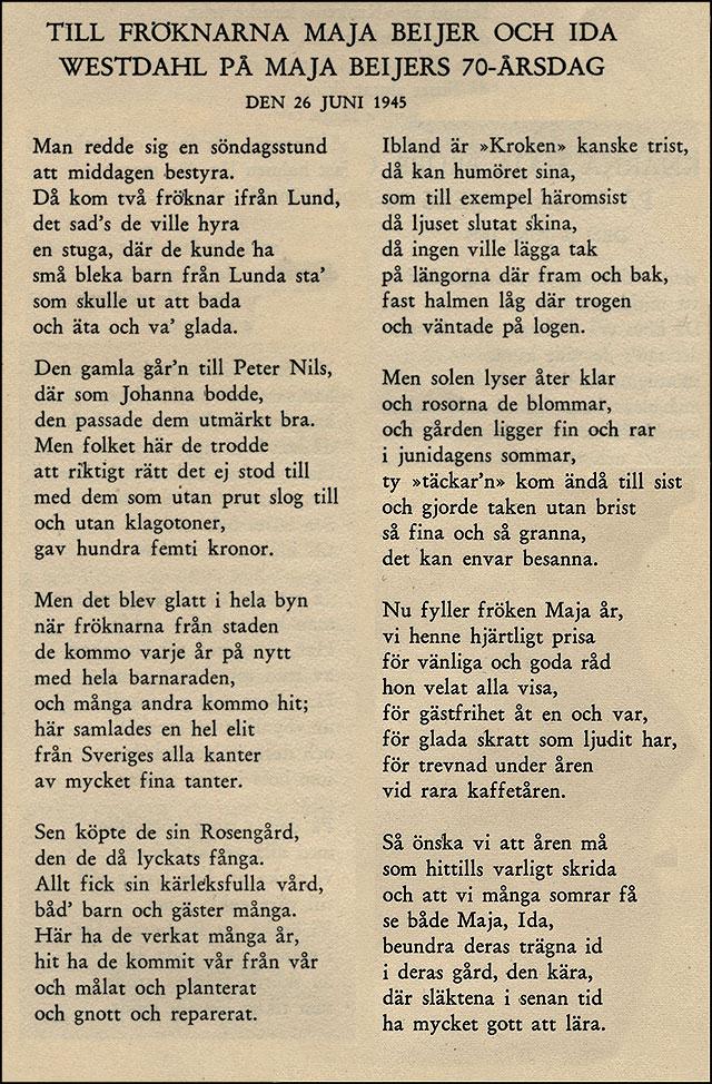 Mina Svenssons hyllningsdikt till Maja Beijers 70-årsdag 1945