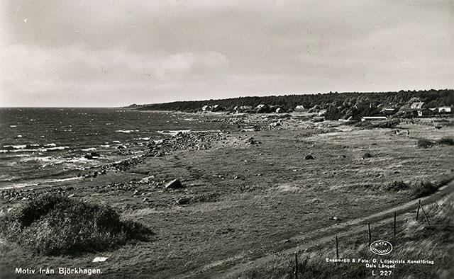 Stranden mellan Skepparkroken och Björkhagen på 1950-talet