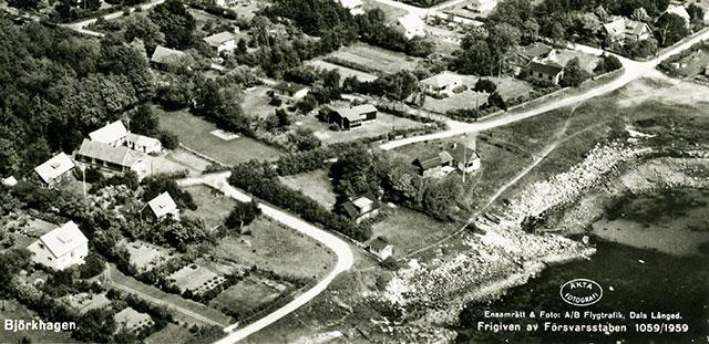 Del av vykort över Björkhagen från 1959