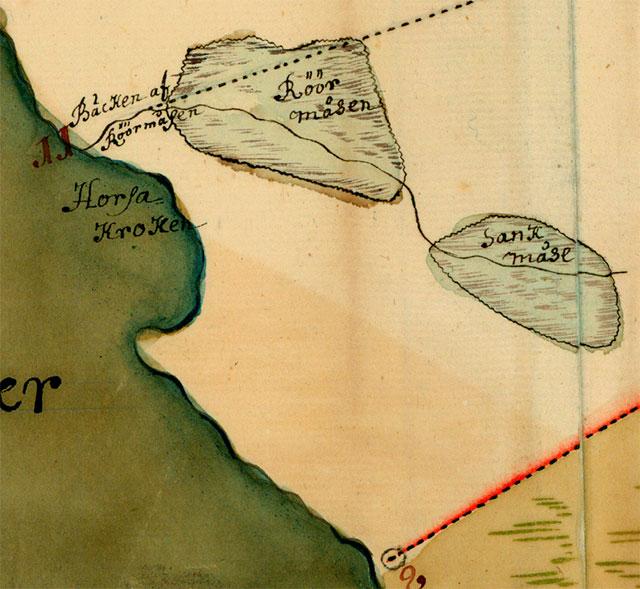 Området för det blivande Björkhagen på en karta från 1726