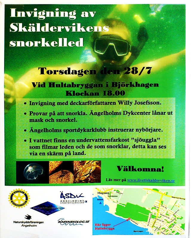 Anslag om invigning av snorkelleden i Björkhagen
