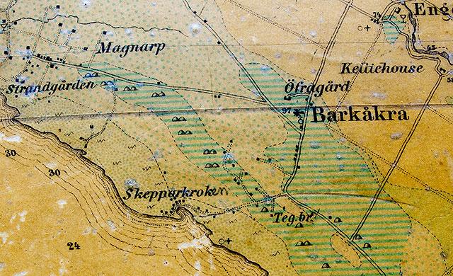Skepparkroken, Barkåkra och Magnarp på en karta från 1875