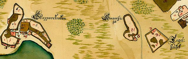 Svanhus och Tegelhus ovanför Skepparkroken på en karta över Barkåkra från 1726