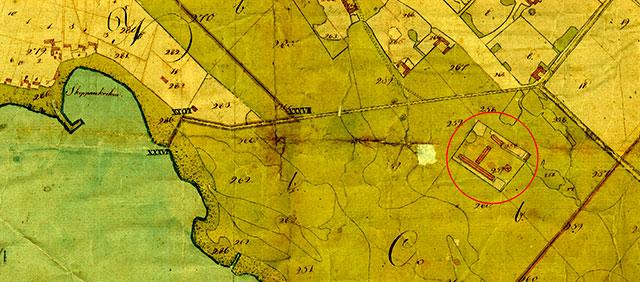 Engeltoftas tegelbruk vid Skepparkroken på en karta från 1809