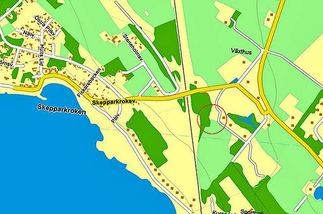 Läget för Engeltoftas tegelbruk vid Skepparkroken på en karta från Eniro
