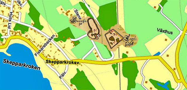 Läget för Engeltoftas tegelhus och svanhus vid Skepparkroken 1726 på en karta från Eniro