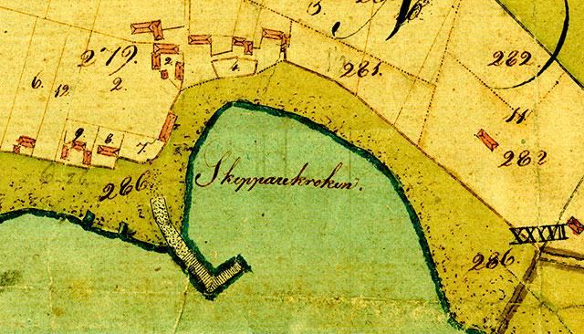 Skepparkroken vid enskiftet 1809 - del av karta