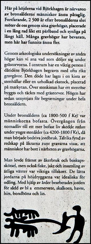Text på skylt om bronsåldern vid glashyttan vid Björkhagsvägens början
