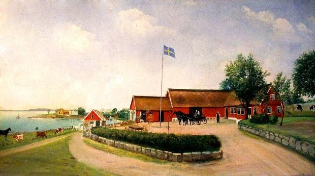 Thörns gård i Skepparkroken på gåramålning från 1908