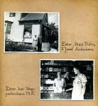 Maja Fajers album om Skepparkroken 1950-51 – sidan 29 Ester och Josef vid affären