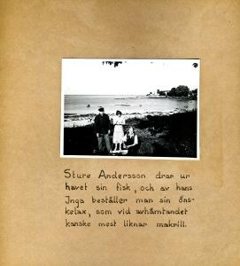 Maja Fajers album om Skepparkroken 1950-51 – sidan 38 Fiskare Andersson