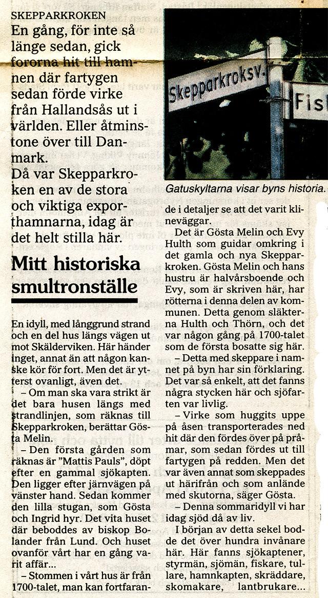 Om Skepparkroken i NST 1995-07-11 del 2