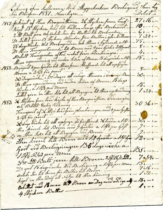 Kostnad för reparation av Skepparkrokens brygga 1851-53