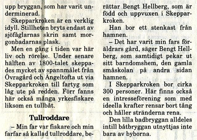 Artikel i NST 1994-07-30 om Skepparkrokens brygga