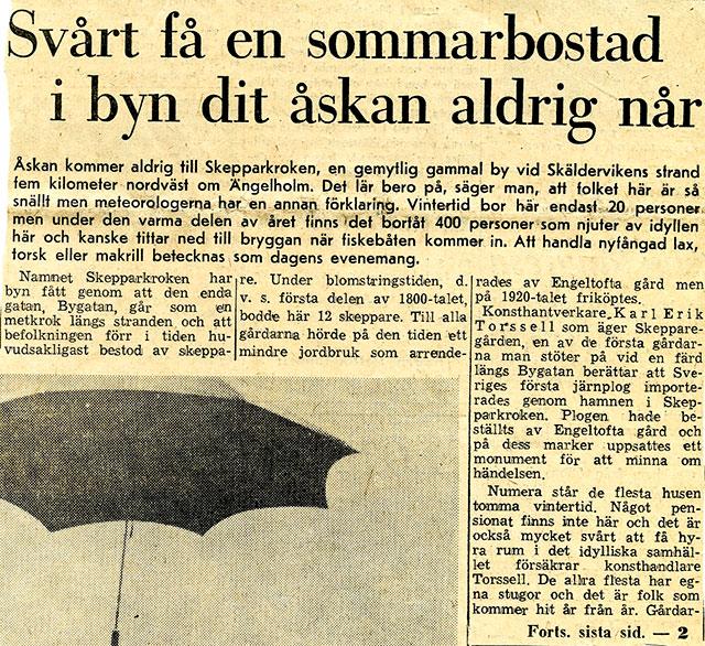 Artikel om Skepparkroken i NST sommaren 1964 - del 1