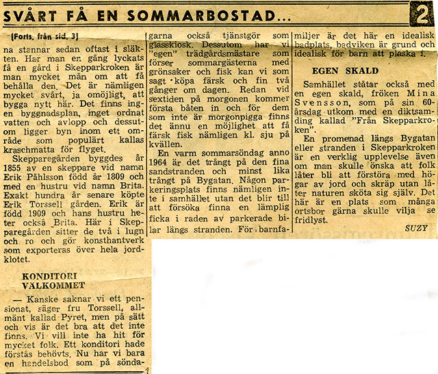 Artikel om Skepparkroken i NST sommaren 1964 - del 4