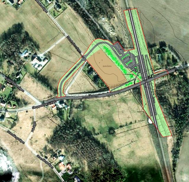 Pågatågsstationen i Barkåkra - ritning inlagd på en satelitbild från Google