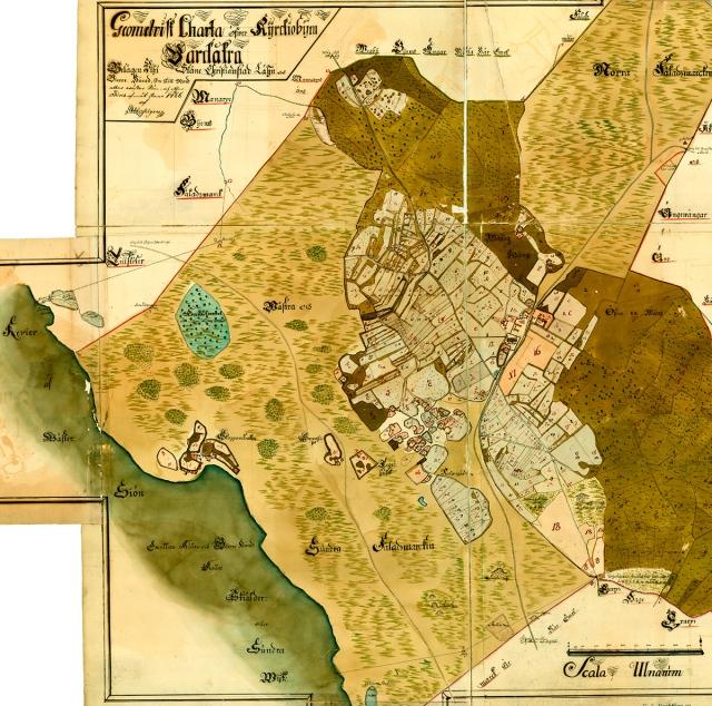 Geometrisk karta från 1726 över Barkåkra Kyrkby