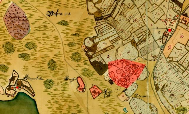 Barkåkra kyrkby på en karta från 1726