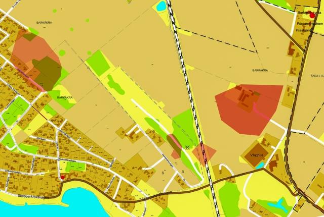 Läget för Barkåkra kyrkby på dagens karta