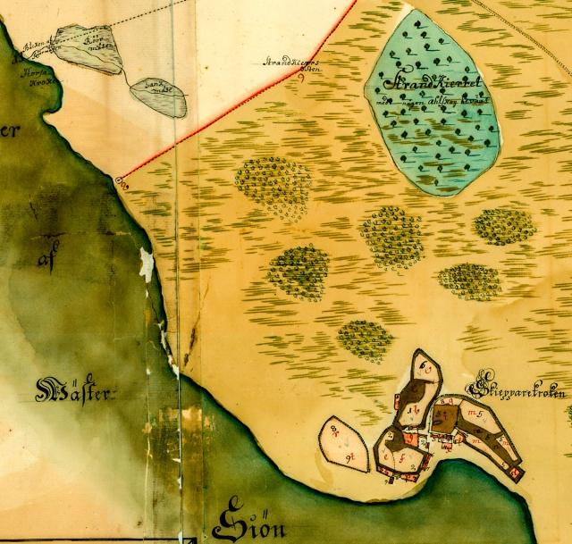 Skepparkroken och StrandKierret på en karta från 1726