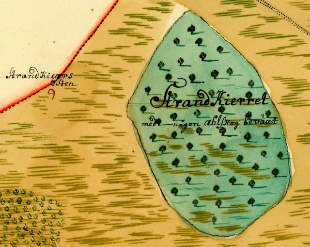 StrandKierret och StandKierrs Sten på en karta från 1726