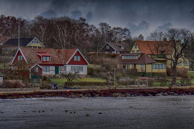 Löfbergs hus och Almgården vid högt vatten 6 december 2013