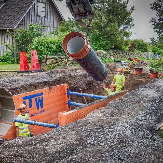 Grävning på Björkhagsvägen