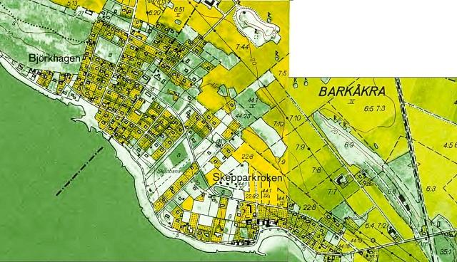 Björkhagen och Skepparkroken på den ekonomiska kartan från 1969