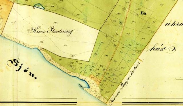 Karta från laga skiftet i Magnarps By 1839-1841 (delen som visar det blivande Björkhagen)