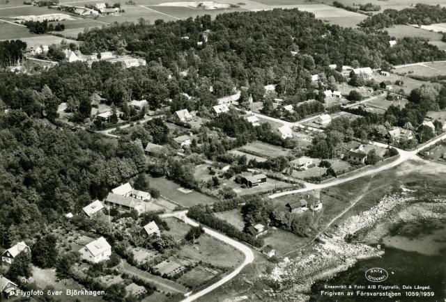 Brynolfs kås i Björkhagen på ett flygfoto från 1950-
