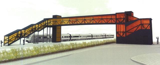 Principbild över trapphus och gångbro vid Barkåkra pågatågsstation