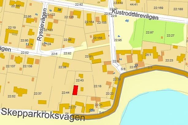 Fastighetskarta över Skepparkroken från 2010