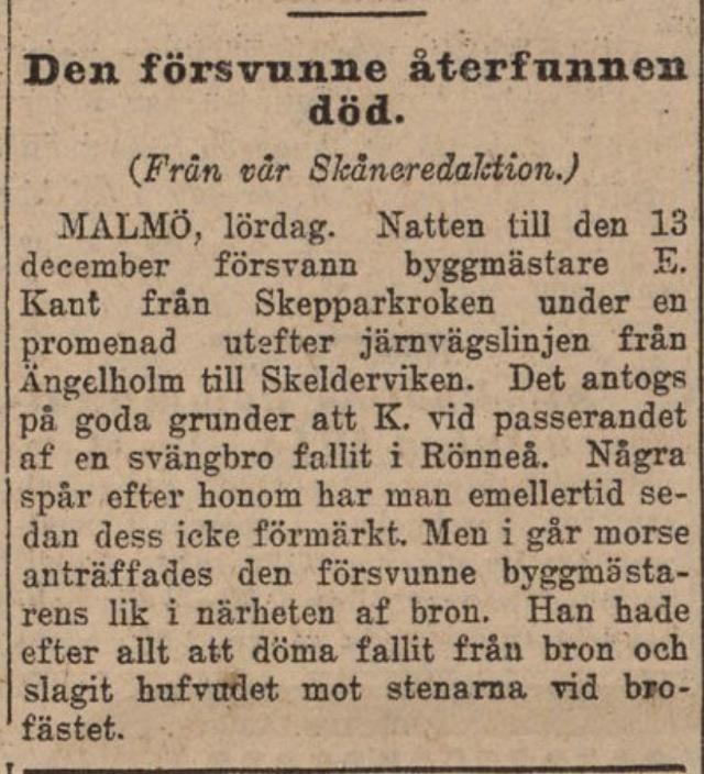Svd 1916-02-06 Elof Kant funnen