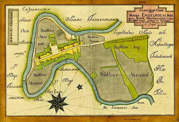 Engelholm stad geometrisk avmätning 1750 från lantmateriet.se