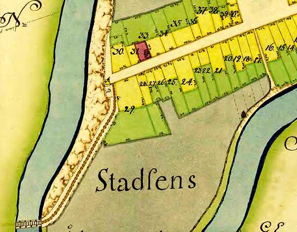 Engelholm stad geometrisk avmätning 1750 - del av karta